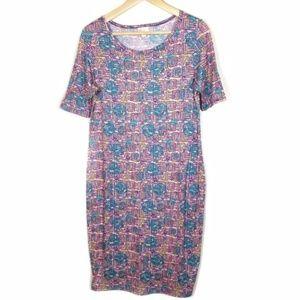 LuLaRoe JULIA Pink Geometric Dress Women's M #1390